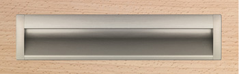 Flush pull handle, aluminium, end caps, zinc alloy