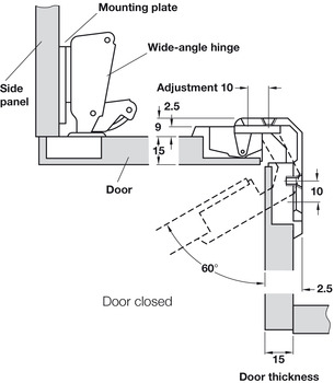 Folding door hinge, for folding door for corner cabinets, 4–18 mm gap