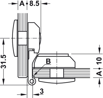 Glass door hinge, for all-glass constructions, inset