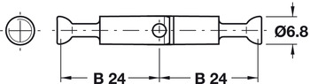 Mitre-joint connector, with joint, for twin mounting, double-ended bolt