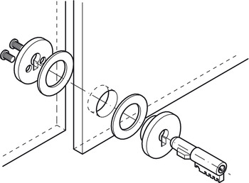Plug-in cylinder lock, for glass sliding doors