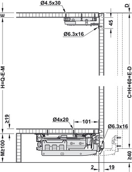 Installation dimensions for sideboard