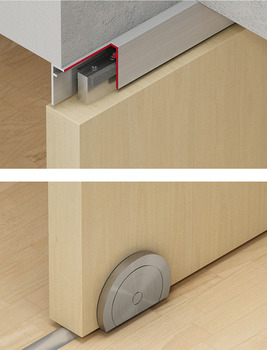 Sliding door fitting with segment circle roller, Slido D-Line802 150T, set, with segment circle roller