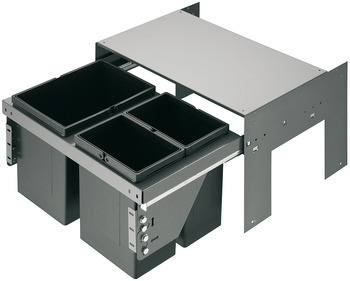 Two and three compartment waste bin, 2 x 11 litres / 1 x 17 and 1 x 11 litres / 2 x 17 litres / 1 x 17 and 2 x 8 litres